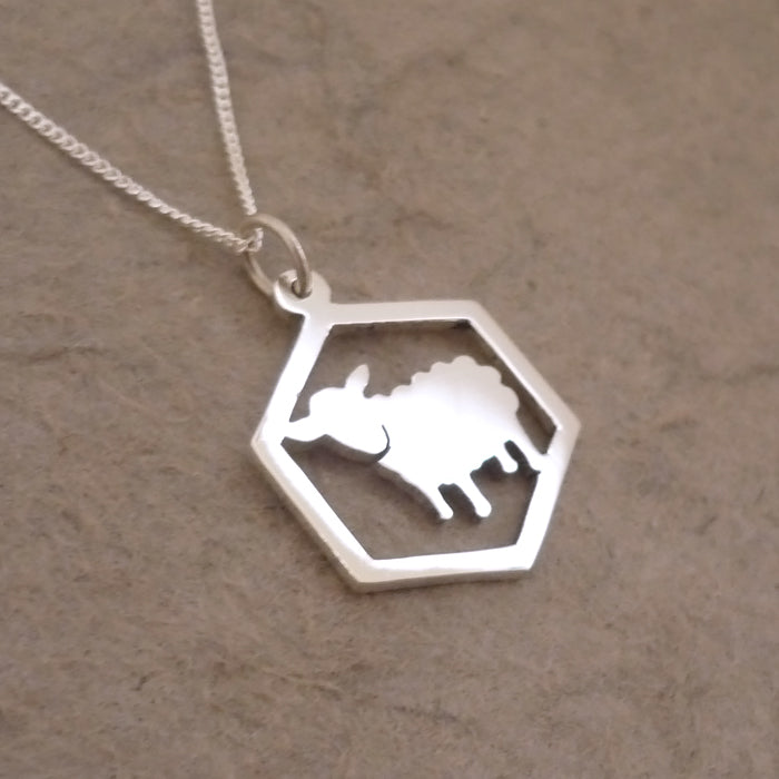 Catan-inspired Sheep in Hexagon Pendant on Chain (Sterling silver)
