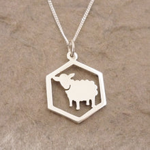 Load image into Gallery viewer, Catan-inspired Sheep in Hexagon Pendant on Chain (Sterling silver)