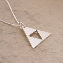 Load image into Gallery viewer, Teeny Triforce Sterling Silver Pendant on chain