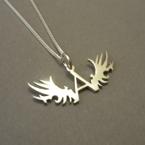 Angel and Wings Sterling Silver Pendant