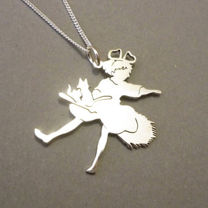 Kiki on Broomstick Silhouette Sterling Silver Pendant