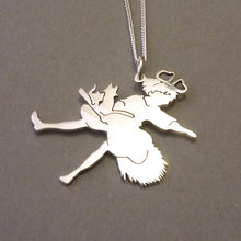 Load image into Gallery viewer, Kiki on Broomstick Silhouette Sterling Silver Pendant