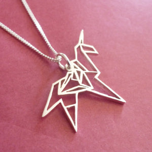Origami Unicorn Pendant on chain