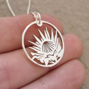Protea in Circle Pendant on Chain