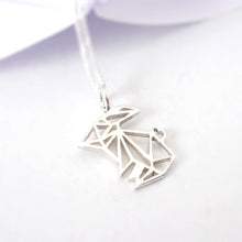 Load image into Gallery viewer, Origami Bunny Pendant on chain