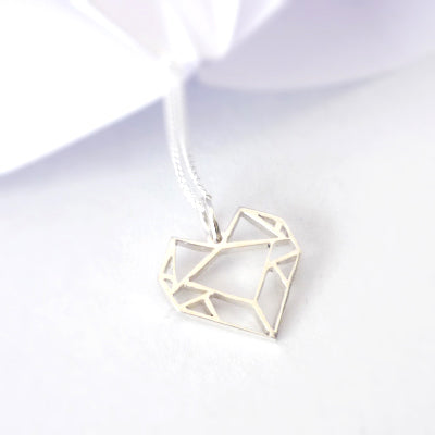 Origami Heart Pendant on chain