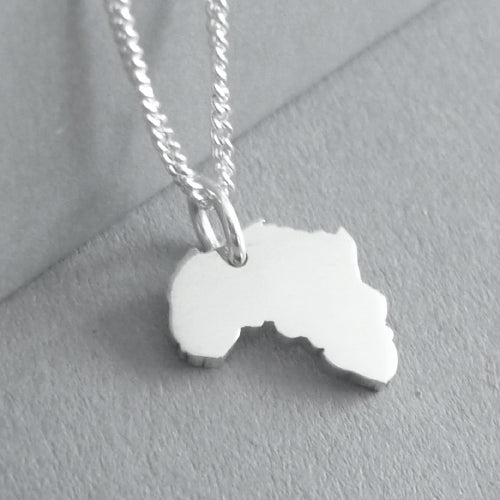 Tiny Africa Pendant on Chain