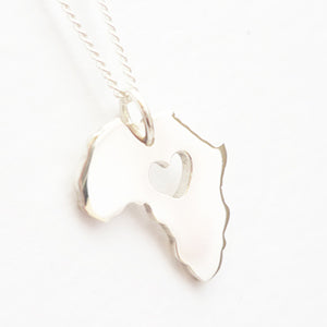 Africa with Heart Pendant on Chain