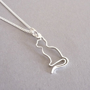 Sterling Silver Silhouette Kitty Pendant