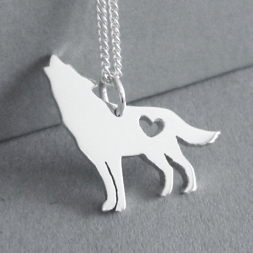 Howling Wolf Pendant on Chain