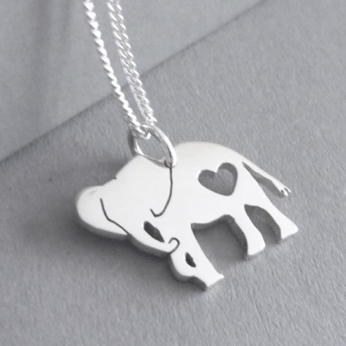 Elephant with Heart Pendant on chain