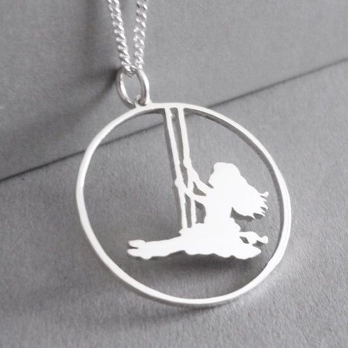 Girl on Swing Pendant on Chain