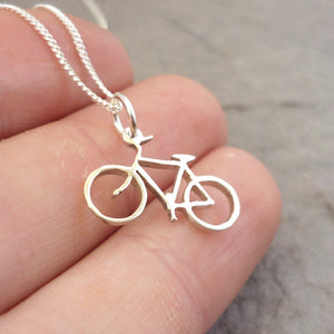 Tiny Bicycle Pendant on Chain