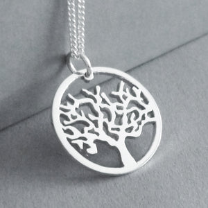 Tree in circle Pendant on Chain