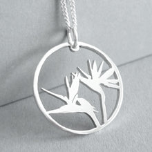 Load image into Gallery viewer, Strelitzia in circle Pendant on Chain