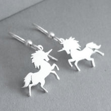 Load image into Gallery viewer, Prancing Unicorn Sterling Silver Earrings