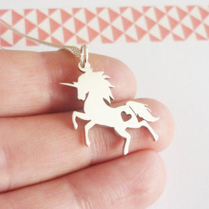 Prancing Unicorn Sterling Silver Pendant