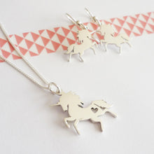 Load image into Gallery viewer, Prancing Unicorn Sterling Silver Pendant