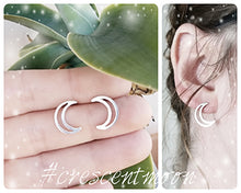 Load image into Gallery viewer, Crescent Moon Stud Earrings