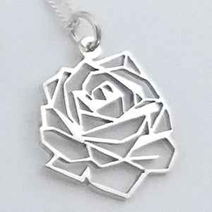 Origami Rose Pendant on chain