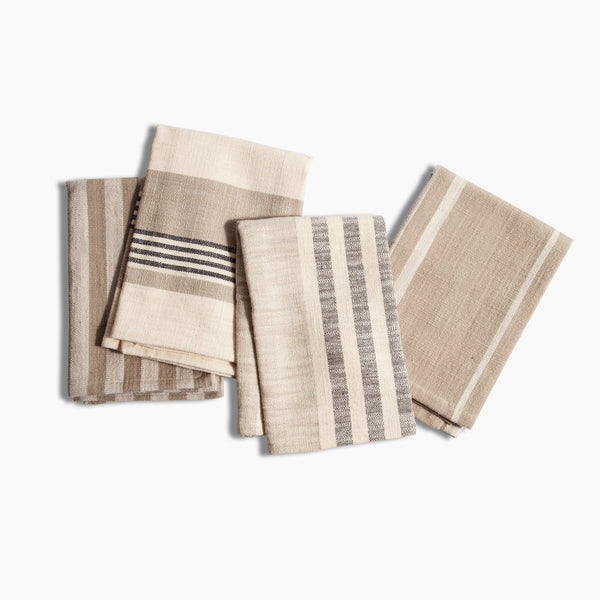 SET OF 4 NATURAL WOVEN COTTON NAPKINS