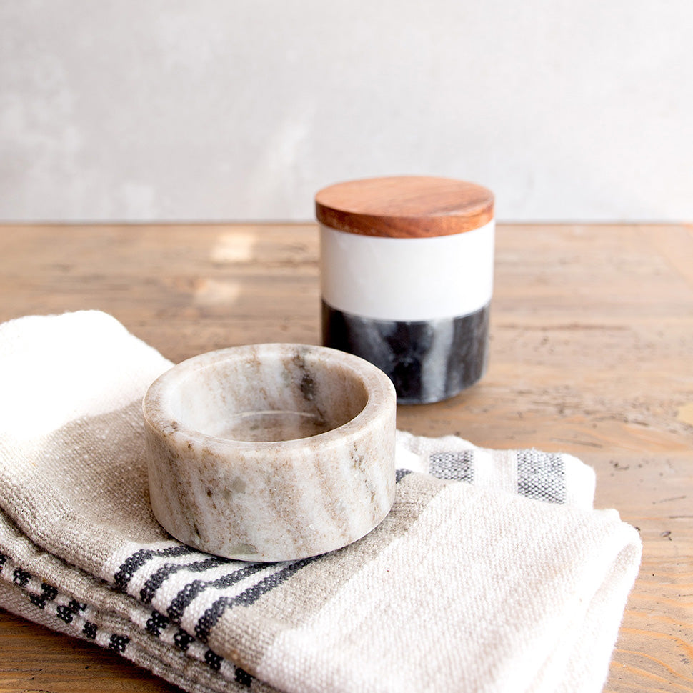 Set of 3 MARBLE STACKING PINCH POTS with Acacia Wood Lid