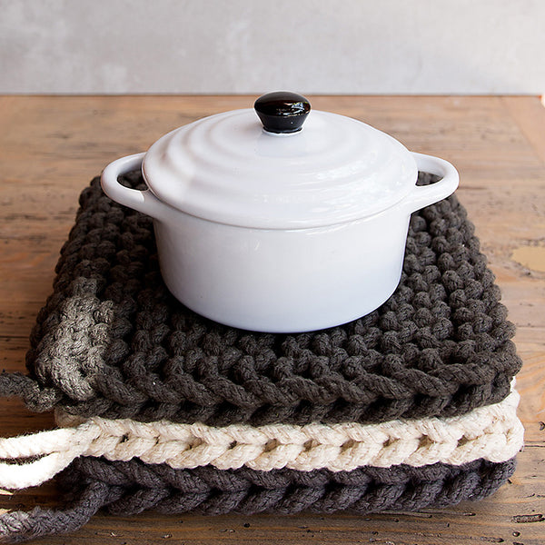 COTTON CROCHETED POT HOLDER TRIVETS