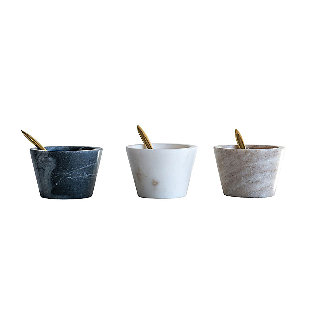 MARBLE BOWLS w/ Brass Spoon (SET of 3)