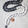 Obsidian + Howlite Healing Natural Gemstone Mala Necklace