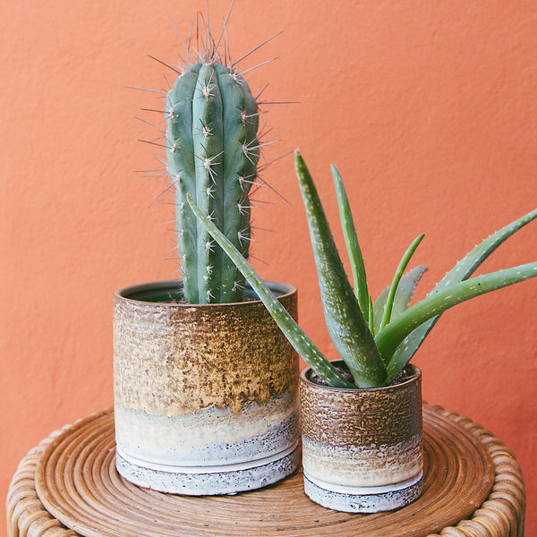 Mojave Reactive Glaze Stoneware Planter Set of 2