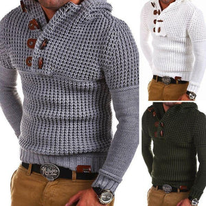 Mens Horn Buckle Knit Hooded Sweater 858db6ee7