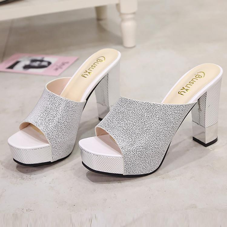 21a12851606b Casual Pure Color Thick Heels Fish Mouth Sandals – joviria