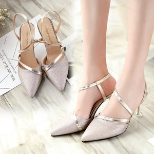 2dffb494e141 Elegant Sequins Pure Color Slim High Heels Sandals