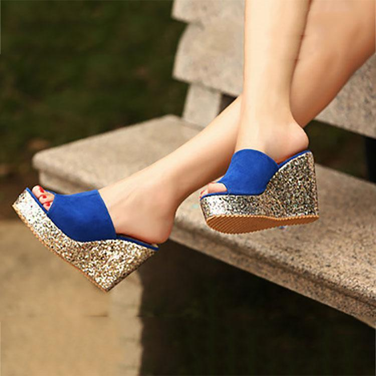9260045df7b1 Casual Sequins Wedge Waterproof Platform Sandals – joviria