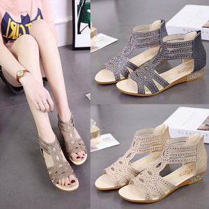 6c31d09b5219 Fashion Rivet Diamond Rear Zipper Sandals