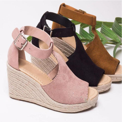 aa24b6c5762a Fashion Pure Color Wedge Fish Mouth Sandals