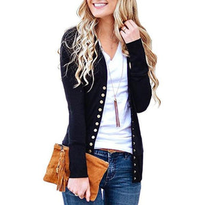Fashion Solid Color V-Neck Long Sleeve Button Cardigan 70cc561b0