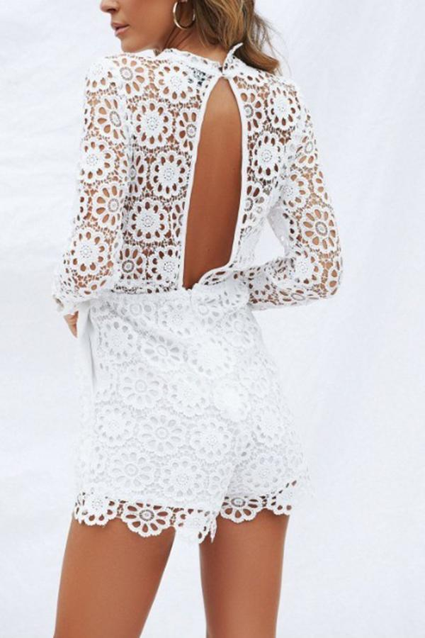 8e391830cd1 Sexy Lace Plain Long Sleeves Slimming Rompers – joviria