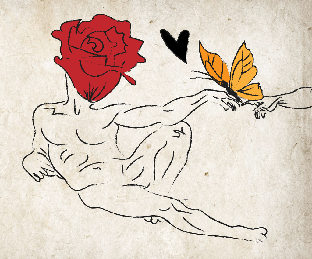 creation of adam illustration with rose and butterflies