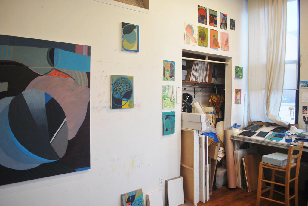 abstract contemporary artist Liz Ainslie's art studio in Brooklyn New York