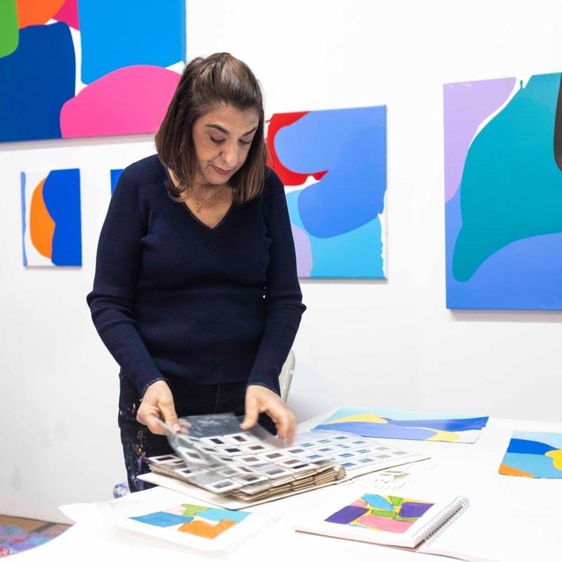 Brooklyn local artist Carolanna in her art studio and her creative process