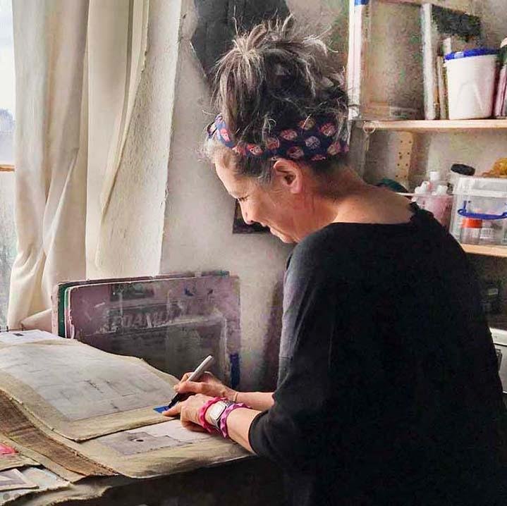 New York local abstract artist Shira Toren in her art studio and creative process