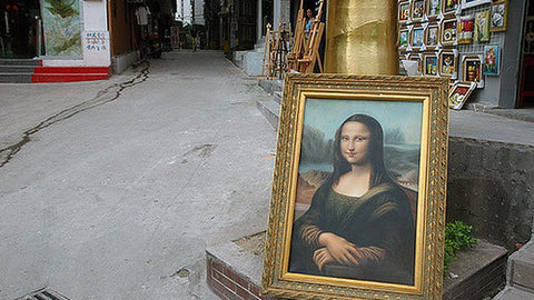 a Mona Lisa displayed on the street in Dafen