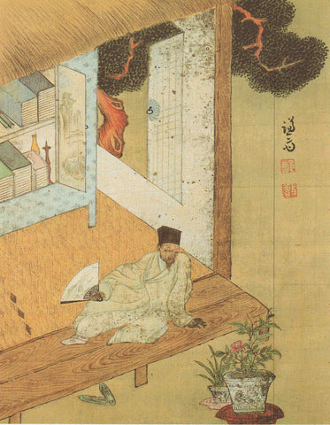 Traditional Japanese illustration of a man sitting with a fan, staring at a plant