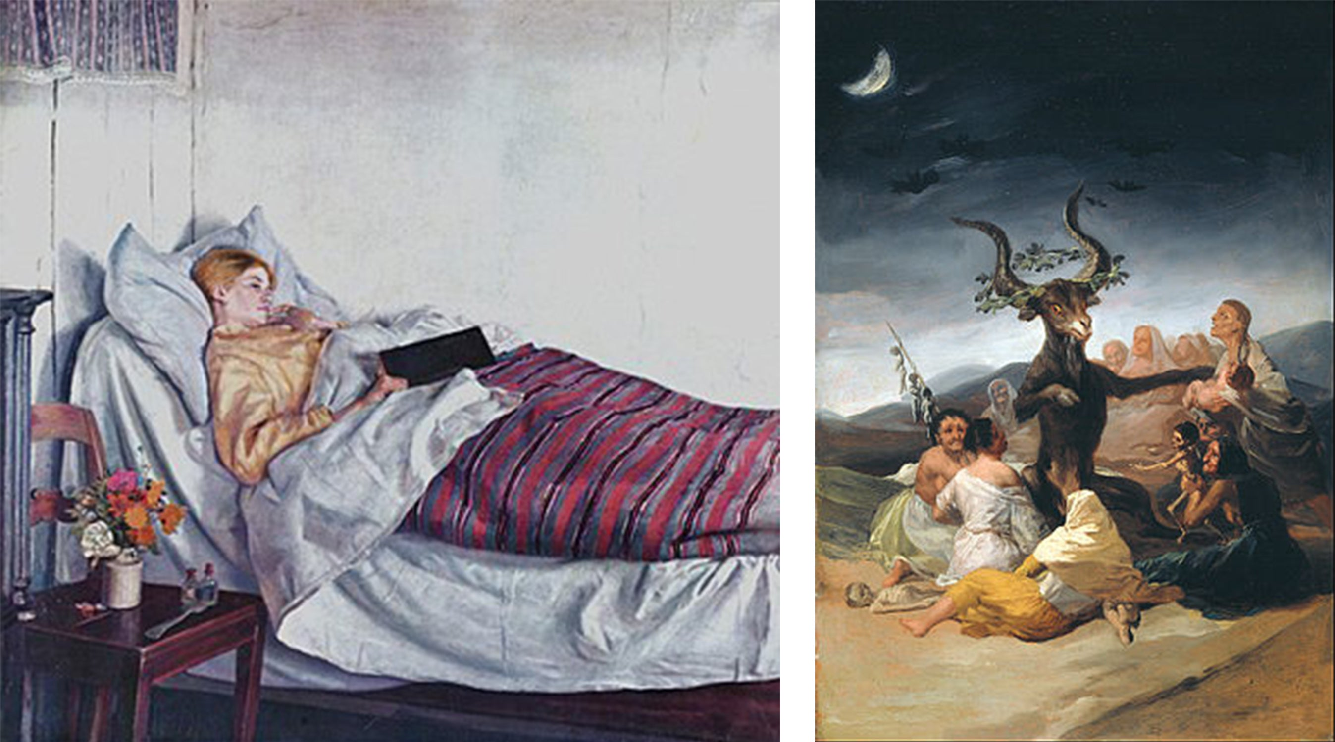 """""""The Sick Girl"""", 1882 by Dutch painter Micheal Ancher at the Statens Museum for Kunst, and """"The Witches Sabbath"""" (1797-1798) by Spanish artist Francisco Goya"""