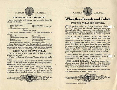 Recipe and tips for wheatless bread and cake, published during World War 1 for the Pennsylvania Food Conservation Train