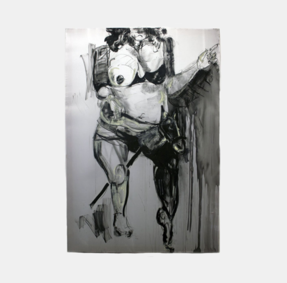 Gabriella Moreno's series of large self-portraits were created with graphite, charcoal, and oil stick on stretched silk.