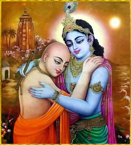 Krishna and Sudama intimately embracing each other in a greeting