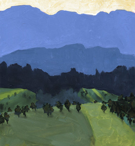 John Cerasulo's french countryside landscape painting. Blue and green, somewhat expressionist