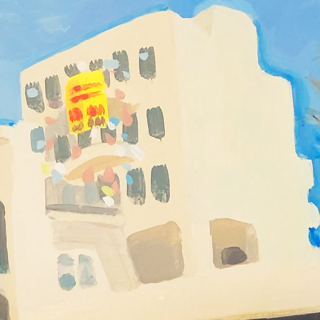 An original acrylic painting of street scenery by Michelle Selwa, an artist who has exhibited in New York, titled 146 West End Ave, October 2007.